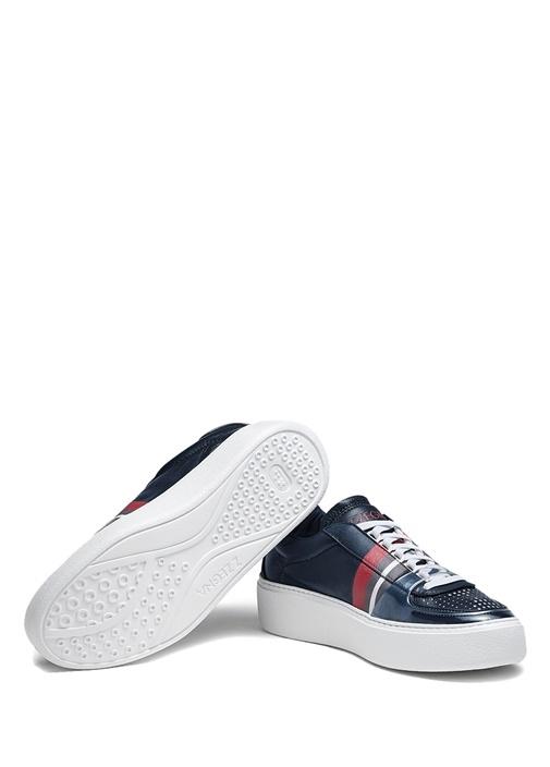 Lacivert Kırmızı Şeritli Erkek Deri Sneaker