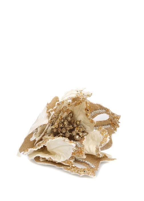 Gold Çiçek Formlu Boncuk İşlemeli Yılbaşı Süsü