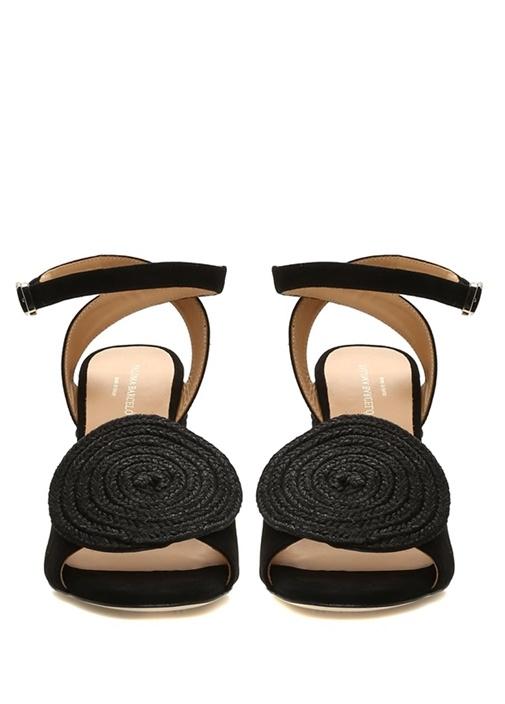 Emi Siyah Aksesuar Detaylı Kadın Süet Sandalet