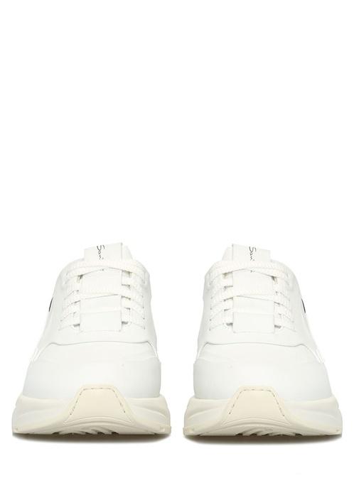 Beyaz Siyah Kadın Deri Sneaker