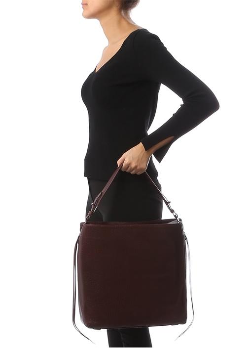 Vincent Bordo Dokulu Kadın Deri Çanta