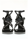 Veronica Siyah Logolu Kadın Deri Sandalet
