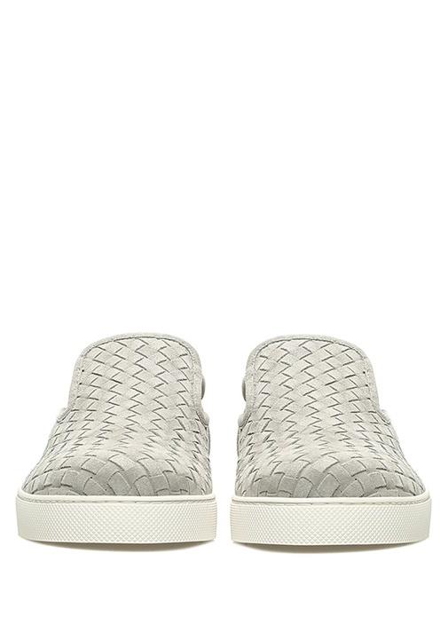 Gri Örgü Doku Detaylı Erkek Nubuk Sneaker