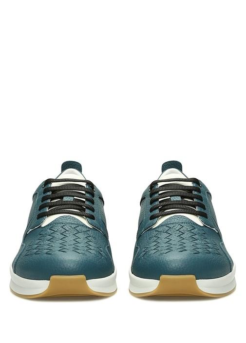 Mavi Örgü Doku Detaylı Erkek Deri Sneaker