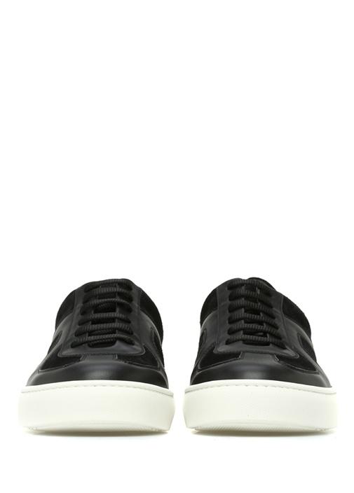 Siyah Örgü Doku Detaylı Erkek Deri Sneaker