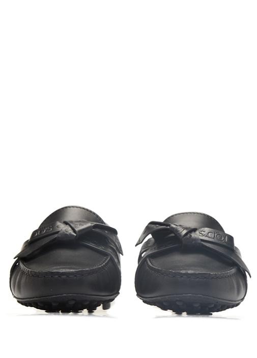Siyah Logolu Fiyonk Detaylı Kadın Deri Loafer