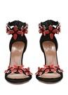 Siyah Çiçekli Bantlı Kadın Nubuk Sandalet