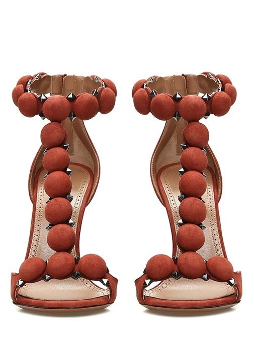 Kiremit Süslü Bantlı Kadın Nubuk Sandalet