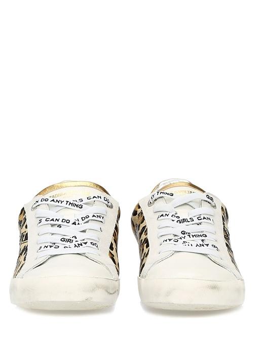 Kahverengi Beyaz Leoparlı Kadın Deri Sneaker