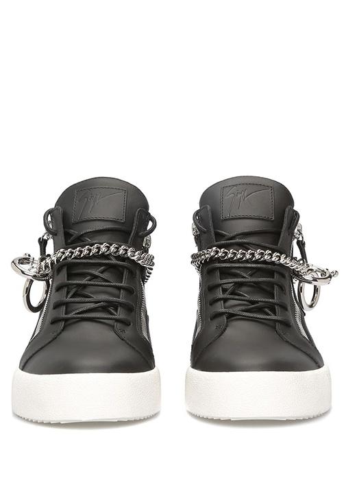 Siyah Zincir Detaylı Erkek Deri Sneaker