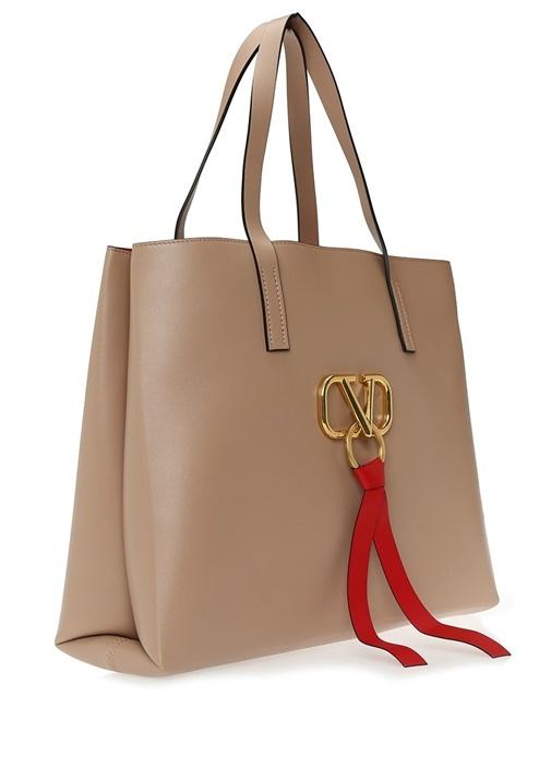 Vring Pudra Logolu Kadın Deri AlışverişÇantası