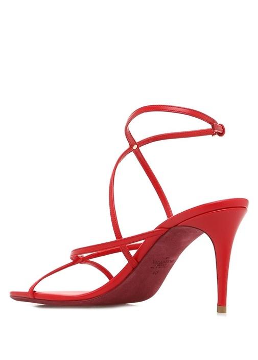 Rockstud Kırmızı Kadın Deri Sandalet