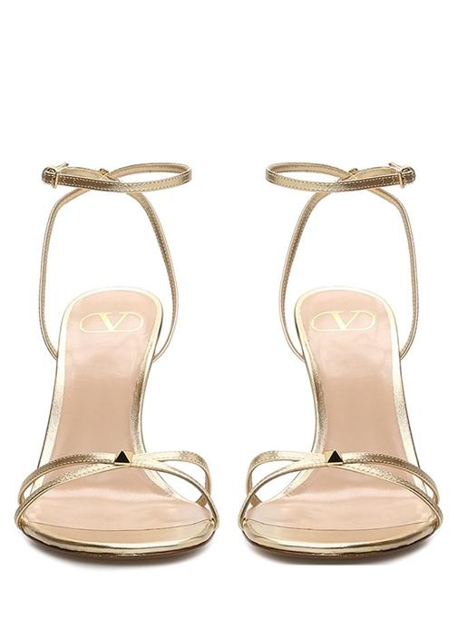 Rockstud Gold Kadın Deri Sandalet
