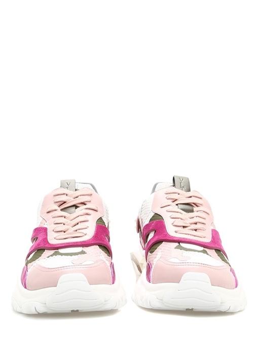 Bounce Beyaz Pembe Kamuflajlı Kadın Deri Sneaker