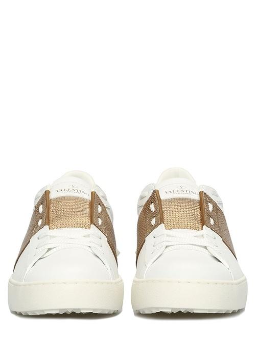 Open Beyaz Gold Şerit Detaylı Kadın Deri Sneaker
