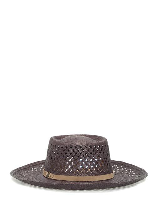 Lacivert Kemer Detaylı Kadın Hasır Şapka