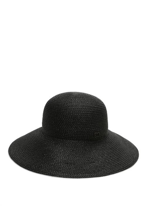 Siyah Hasır Dokulu Kadın Şapka