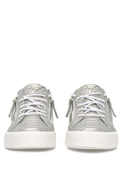 Nicki Gri Dokulu Kadın Deri Sneaker