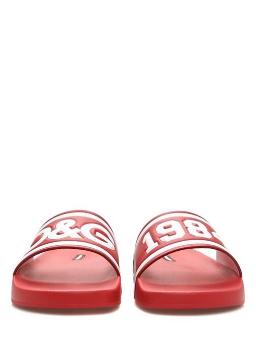Kırmızı Beyaz Logo Kabartmalı Erkek Terlik
