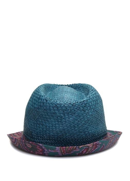 Mavi Hasır Görünümlü Desenli Erkek Keten Şapka