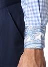 Mavi İngiliz Yaka Pötikareli Gömlek