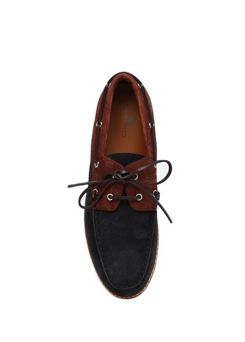 Lacivert Bağcık Detaylı Erkek Nubuk Sneaker