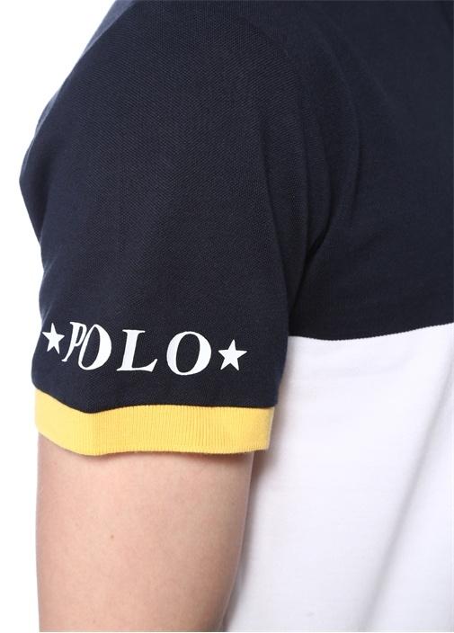 Lacivert Yeşil Bloklu Polo Yaka T-shirt