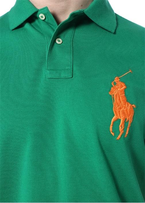 Custom Slim Fit Yeşil Polo Yaka T-shirt