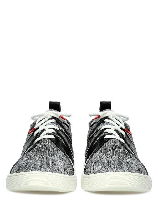 Gri Siyah File Dokulu Garni Detaylı Erkek Sneaker