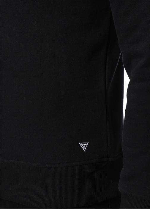 Exxxtra Siyah Bisiklet Yaka Baskılı Sweatshirt