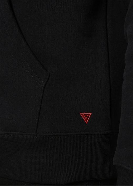 Siyah Kapüşonlu Logolu Sweatshirt