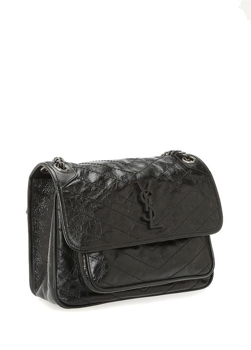 Niki Siyah Logolu Dokulu Kadın Deri Çanta