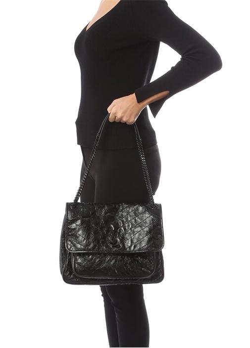 Niki Siyah Kapitoneli Kadın Deri Çanta