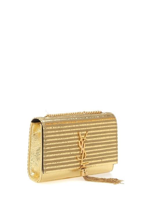 Kate Metalik Gold Logolu Kadın Deri Abiye Çanta