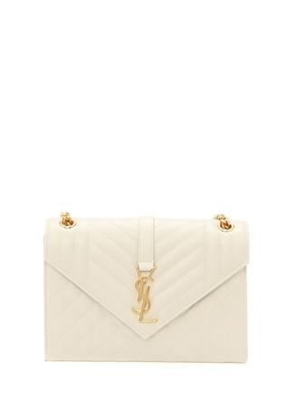 5dc87cc612c84 Saint Laurent Kadın Envelope Medium Bej Logolu Deri Çanta Beyaz EU