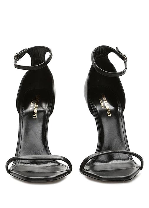 Siyah Logo Topuk Detaylı Kadın Deri Sandalet