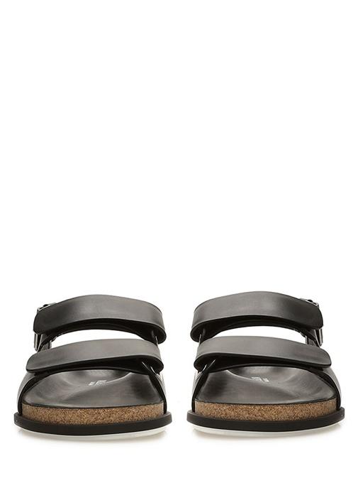 Siyah Logo Baskılı Erkek Deri Sandalet