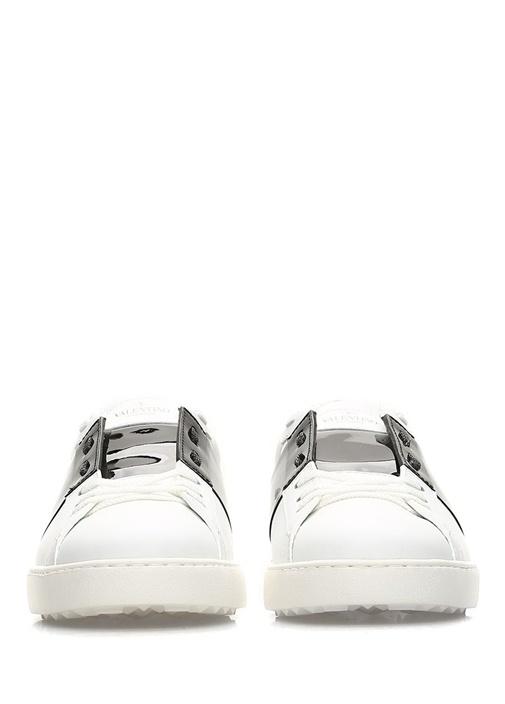 Open Beyaz Siyah Erkek Deri Sneaker