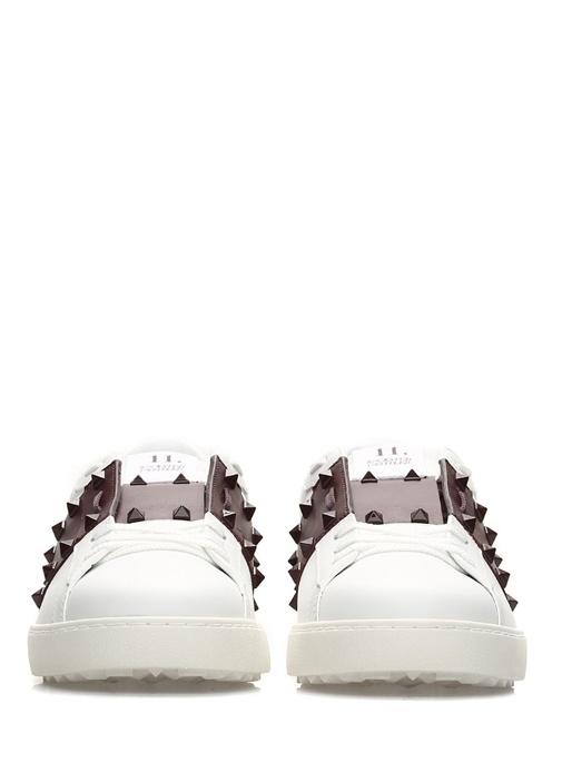 Rockstud 11 Beyaz Şeritli Erkek Deri Sneaker