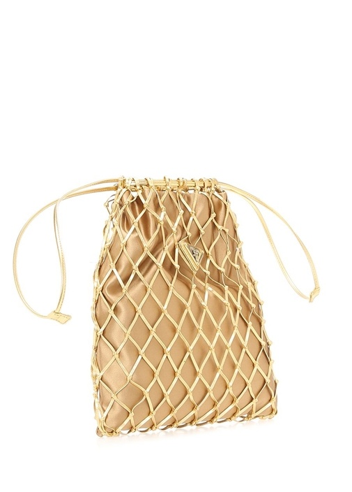 Gold Logolu Kafes Detaylı Kadın Abiye Çanta