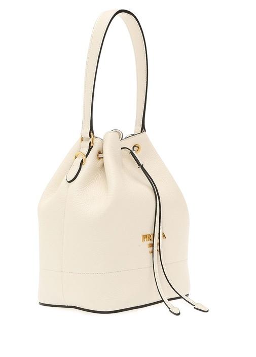 Beyaz Gold Logolu Kadın Deri Çanta