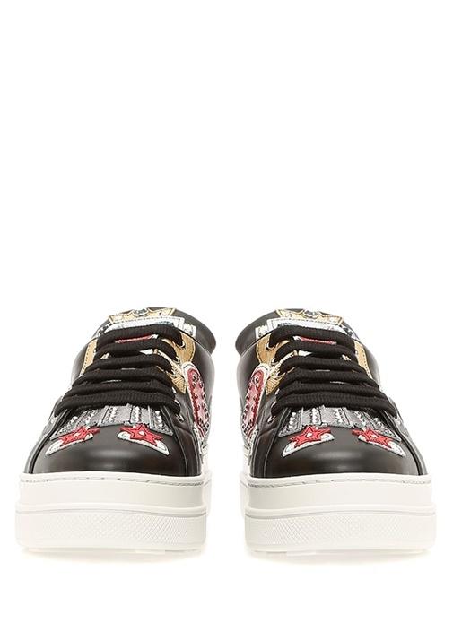 Siyah Trok Detaylı Patchli Kadın Deri Sneaker