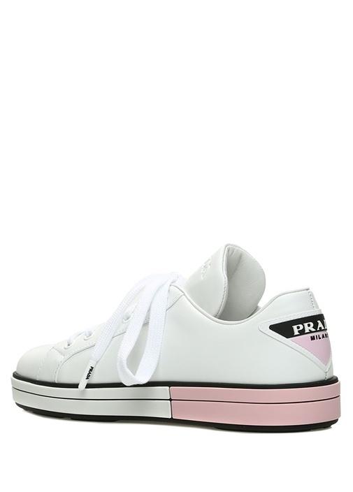 Beyaz Taban Detaylı Logolu Kadın Deri Sneaker