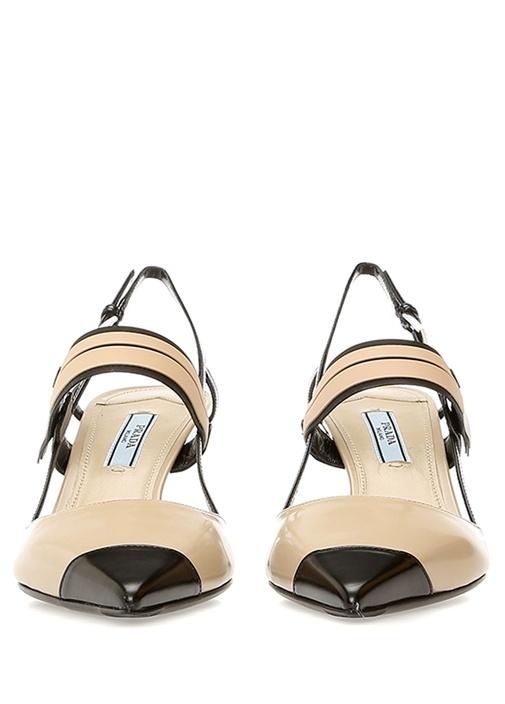 Bej Siyah Logo Bantlı Kadın Deri Topuklu Ayakkabı