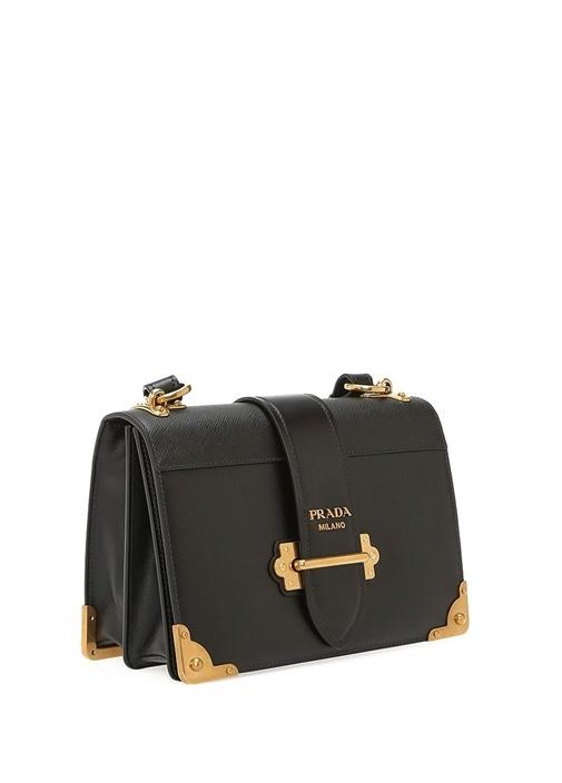Siyah Gold Detaylı Logolu Kadın Deri Çanta