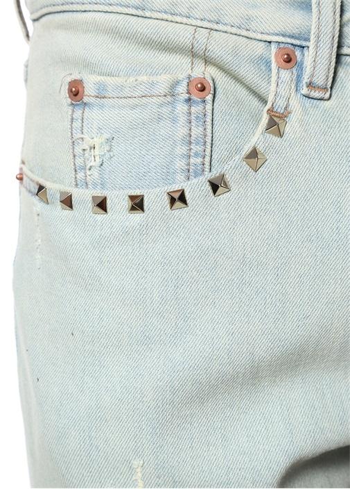 Rockstud 06 Mavi Yıpratmalı Dar Paça Jean Pantolon