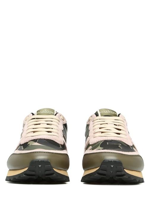 Haki Pembe Kamuflajlı Kadın Deri Sneaker