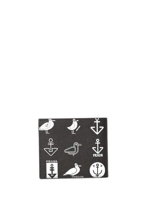 Siyah Beyaz Logolu Baskılı Erkek Deri Cüzdan