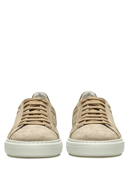 Bej Logolu Erkek Süet Sneaker