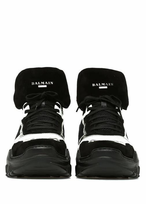 Siyah Gri File Detaylı Logolu Erkek Sneaker